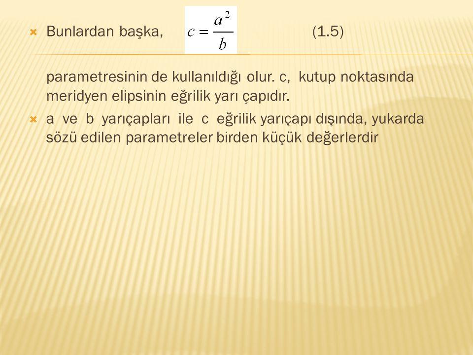  Bunlardan başka,(1.5) parametresinin de kullanıldığı olur. c, kutup noktasında meridyen elipsinin eğrilik yarı çapıdır.  a ve b yarıçapları ile c e