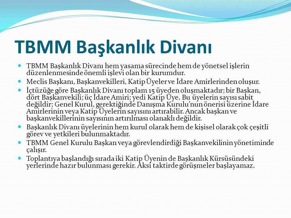 TBMM Başkanlık Divanı  TBMM Başkanlık Divanı hem yasama sürecinde hem de yönetsel işlerin düzenlenmesinde önemli işlevi olan bir kurumdur.  Meclis B