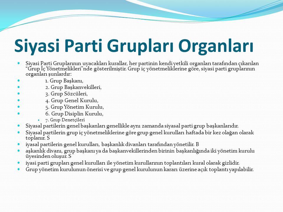 """Siyasi Parti Grupları Organları  Siyasi Parti Gruplarının uyacakları kurallar, her partinin kendi yetkili organları tarafından çıkarılan """"Grup İç Yön"""