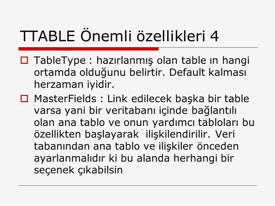 TTABLE Önemli özellikleri 4  TableType : hazırlanmış olan table ın hangi ortamda olduğunu belirtir. Default kalması herzaman iyidir.  MasterFields :