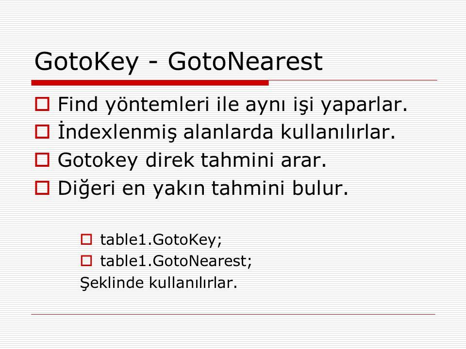 GotoKey - GotoNearest  Find yöntemleri ile aynı işi yaparlar.  İndexlenmiş alanlarda kullanılırlar.  Gotokey direk tahmini arar.  Diğeri en yakın