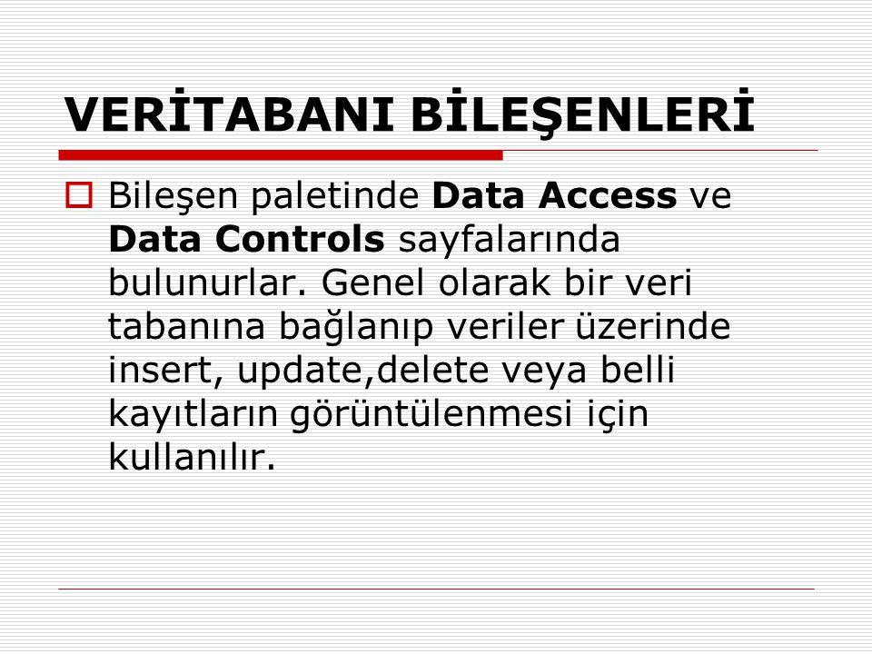 VERİTABANI BİLEŞENLERİ  Bileşen paletinde Data Access ve Data Controls sayfalarında bulunurlar. Genel olarak bir veri tabanına bağlanıp veriler üzeri