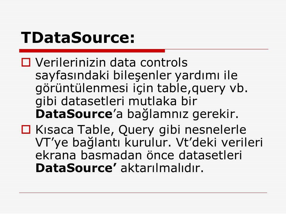 TDataSource:  Verilerinizin data controls sayfasındaki bileşenler yardımı ile görüntülenmesi için table,query vb. gibi datasetleri mutlaka bir DataSo