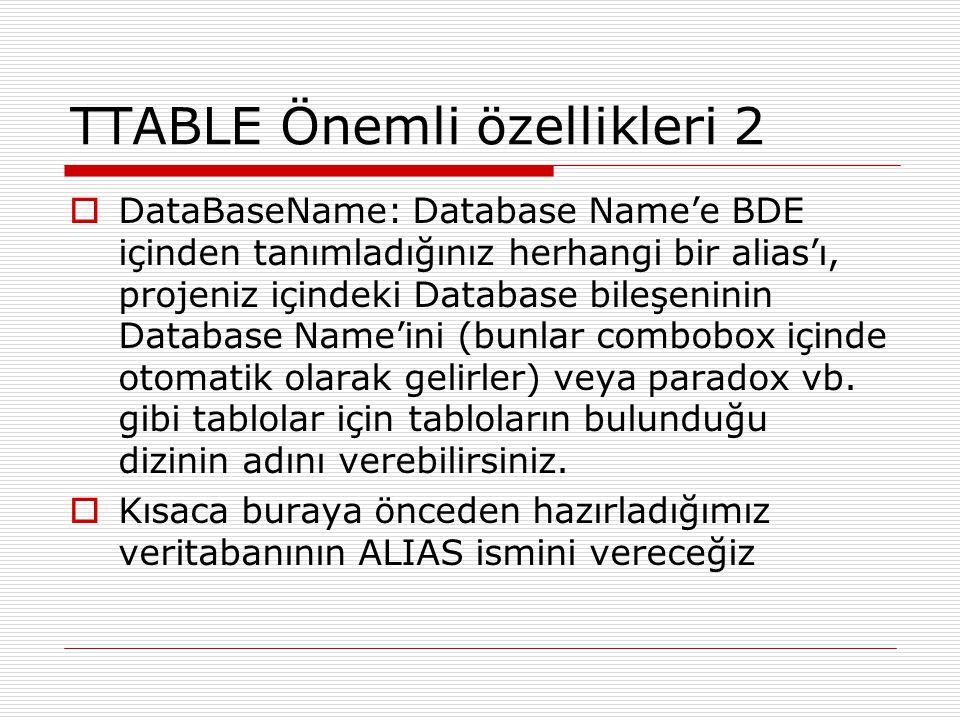 TTABLE Önemli özellikleri 2  DataBaseName: Database Name'e BDE içinden tanımladığınız herhangi bir alias'ı, projeniz içindeki Database bileşeninin Da