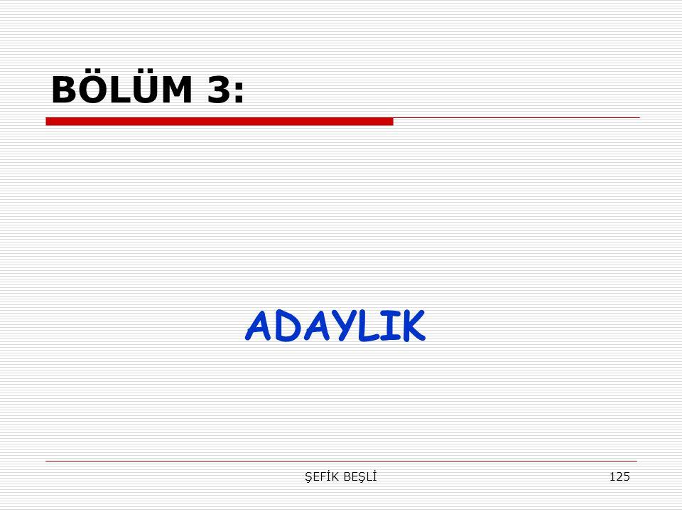 ŞEFİK BEŞLİ125 BÖLÜM 3: ADAYLIK