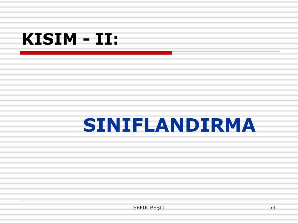 ŞEFİK BEŞLİ53 KISIM - II: SINIFLANDIRMA