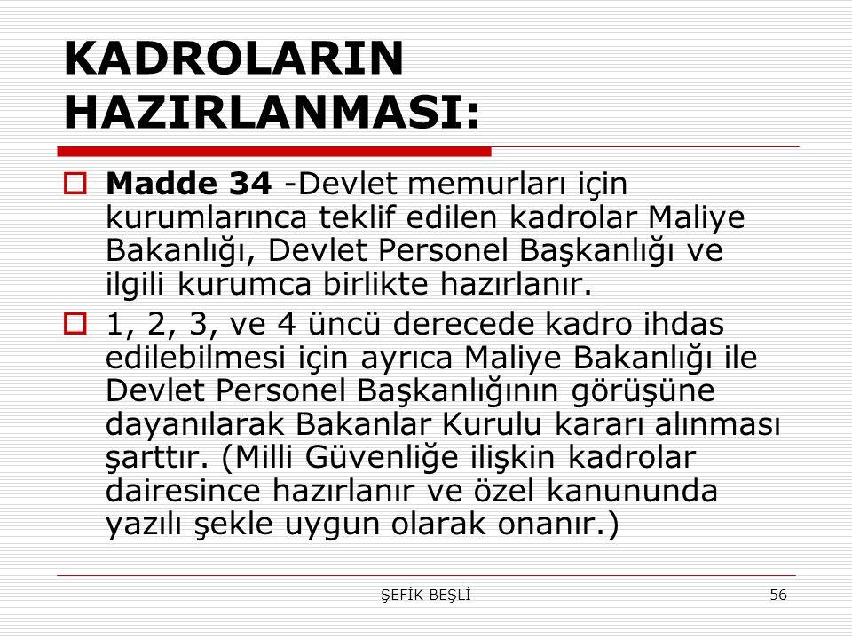 ŞEFİK BEŞLİ56 KADROLARIN HAZIRLANMASI:  Madde 34 -Devlet memurları için kurumlarınca teklif edilen kadrolar Maliye Bakanlığı, Devlet Personel Başkanl