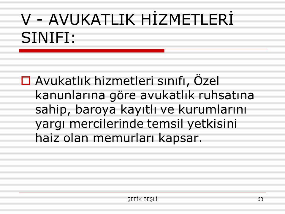 ŞEFİK BEŞLİ63 V - AVUKATLIK HİZMETLERİ SINIFI:  Avukatlık hizmetleri sınıfı, Özel kanunlarına göre avukatlık ruhsatına sahip, baroya kayıtlı ve kurum