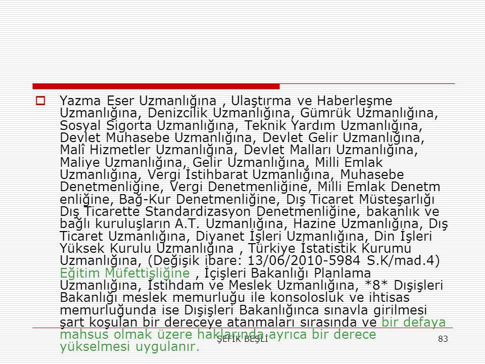 ŞEFİK BEŞLİ83  Yazma Eser Uzmanlığına, Ulaştırma ve Haberleşme Uzmanlığına, Denizcilik Uzmanlığına, Gümrük Uzmanlığına, Sosyal Sigorta Uzmanlığına, T