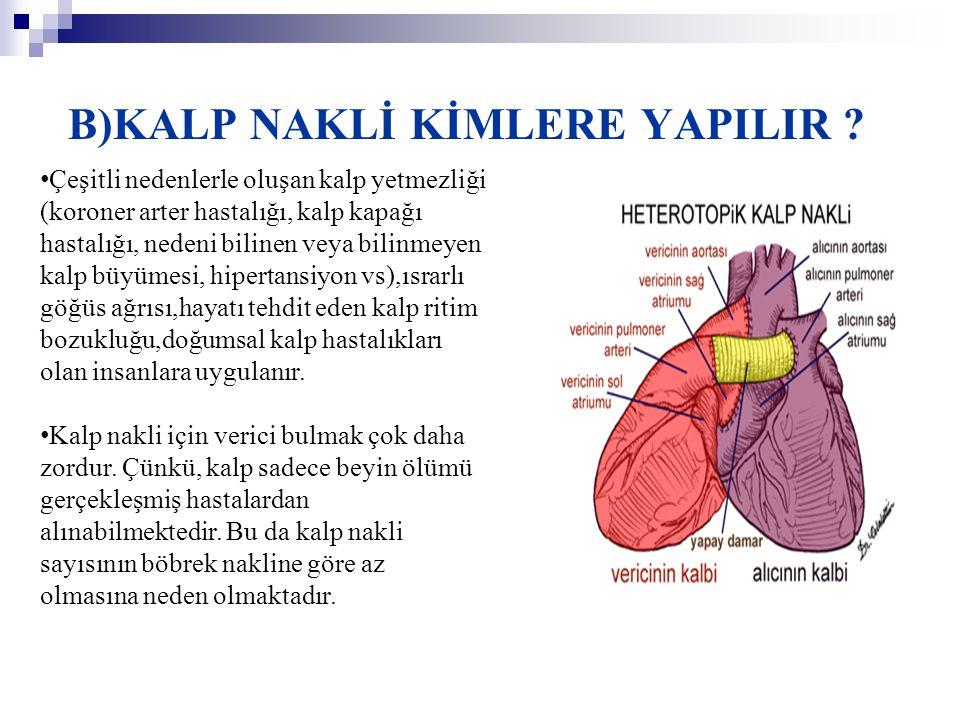 B)KALP NAKLİ KİMLERE YAPILIR ? • Çeşitli nedenlerle oluşan kalp yetmezliği (koroner arter hastalığı, kalp kapağı hastalığı, nedeni bilinen veya bilinm