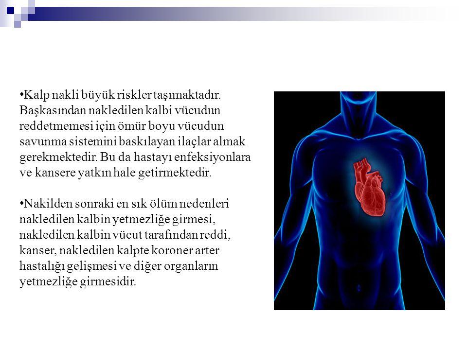 • Kalp nakli büyük riskler taşımaktadır. Başkasından nakledilen kalbi vücudun reddetmemesi için ömür boyu vücudun savunma sistemini baskılayan ilaçlar