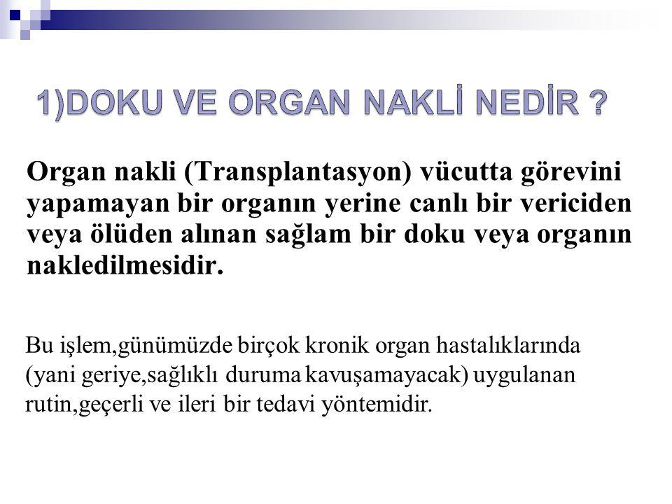Organ nakli (Transplantasyon) vücutta görevini yapamayan bir organın yerine canlı bir vericiden veya ölüden alınan sağlam bir doku veya organın nakled