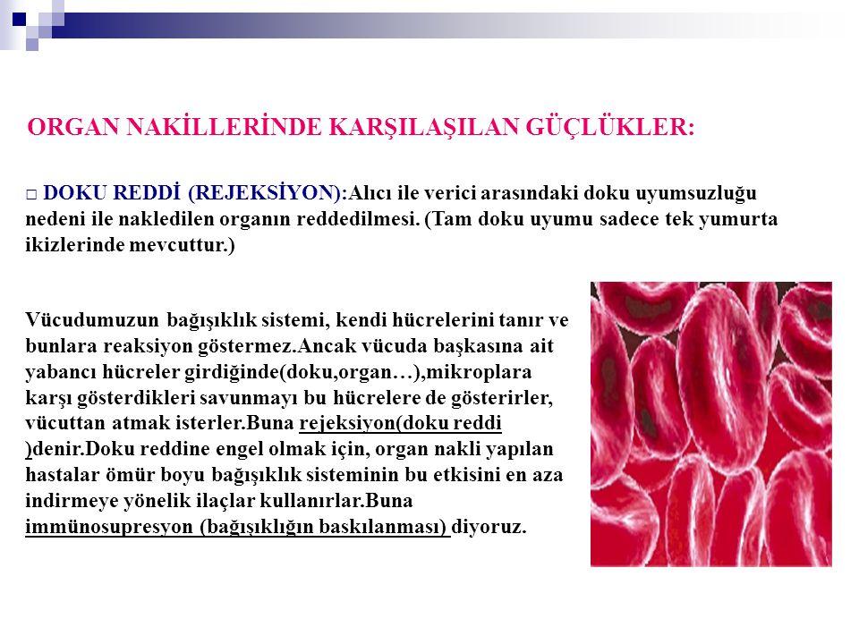 ORGAN NAKİLLERİNDE KARŞILAŞILAN GÜÇLÜKLER: □ DOKU REDDİ (REJEKSİYON):Alıcı ile verici arasındaki doku uyumsuzluğu nedeni ile nakledilen organın redded