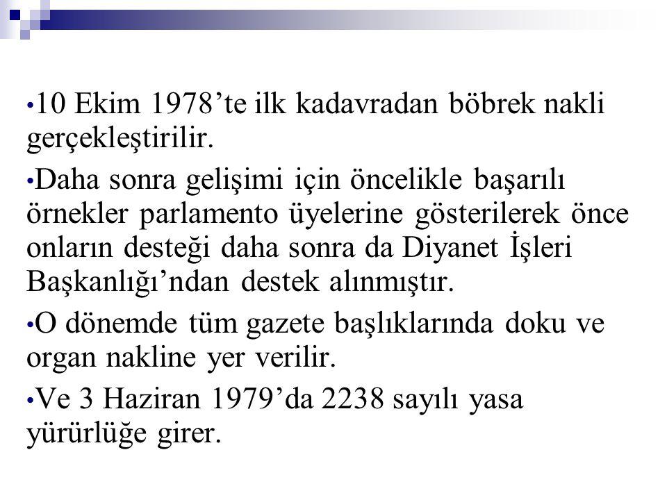 • 10 Ekim 1978'te ilk kadavradan böbrek nakli gerçekleştirilir. • Daha sonra gelişimi için öncelikle başarılı örnekler parlamento üyelerine gösteriler