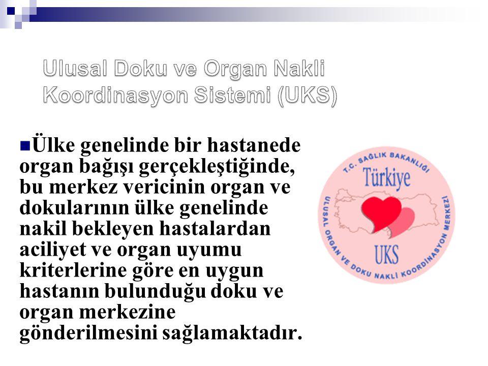  Ülke genelinde bir hastanede organ bağışı gerçekleştiğinde, bu merkez vericinin organ ve dokularının ülke genelinde nakil bekleyen hastalardan acili