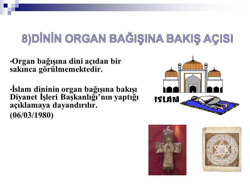 • Organ bağışına dini açıdan bir sakınca görülmemektedir. • İslam dininin organ bağışına bakışı Diyanet İşleri Başkanlığı'nın yaptığı açıklamaya dayan