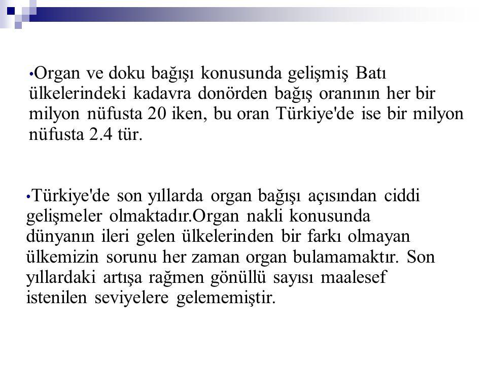 • Organ ve doku bağışı konusunda gelişmiş Batı ülkelerindeki kadavra donörden bağış oranının her bir milyon nüfusta 20 iken, bu oran Türkiye'de ise bi