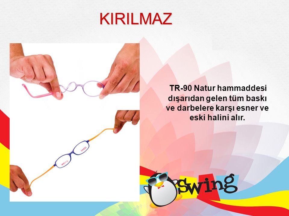 Bu malzeme bazı ek maddeler nedeniyle diğer TR-90 Natur malzemelerinden faklıdır.Bu nedenle gözlüklerine hiçbir markada olmayan tüm özellikleri kazandırır; •Anti Toksik •Anti Alerjik •Mükemmel ısı dayanıklılığı •Dayanıklı esneklik •Hafiflik ve darbe dayanımı •125 C dereceye kadar dayanıklı ve -42 C dereceye kadar esnekliğini koruyan •Yüksek UV ışınlarına, ozona, genel aşınmaya ve gözyaşına dayanıklı •Lateks, PVC ve ağır metaller içermeyen •Oyuncak, gıda maddeleri ve insan vücuduna temas eden ürünlerin üretiminde kullanmak için uygun •Küçük çocukların yüzlerine orantılı TR-90 NATUR mucizesi