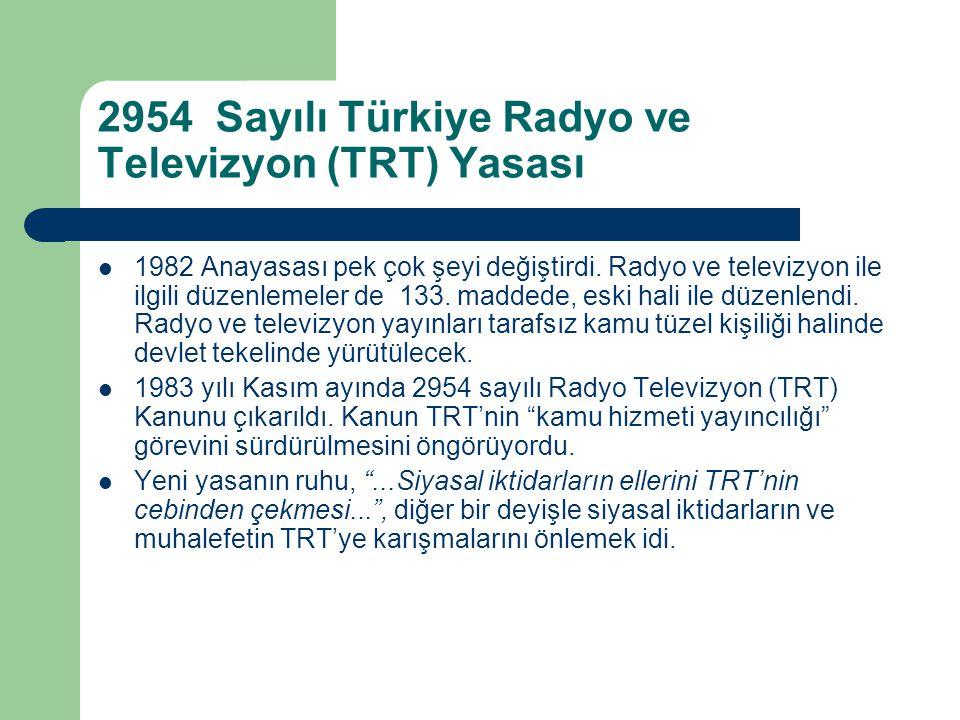 2954 Sayılı Türkiye Radyo ve Televizyon (TRT) Yasası  1982 Anayasası pek çok şeyi değiştirdi. Radyo ve televizyon ile ilgili düzenlemeler de 133. mad