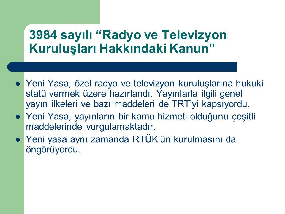 """3984 sayılı """"Radyo ve Televizyon Kuruluşları Hakkındaki Kanun""""  Yeni Yasa, özel radyo ve televizyon kuruluşlarına hukuki statü vermek üzere hazırland"""
