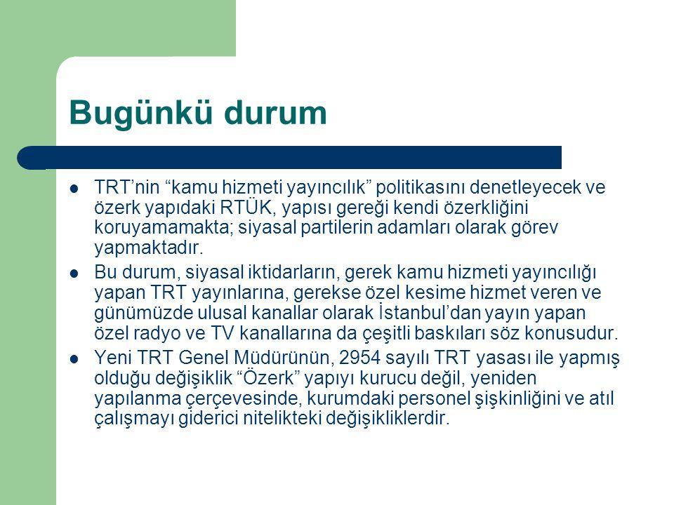 """Bugünkü durum  TRT'nin """"kamu hizmeti yayıncılık"""" politikasını denetleyecek ve özerk yapıdaki RTÜK, yapısı gereği kendi özerkliğini koruyamamakta; siy"""
