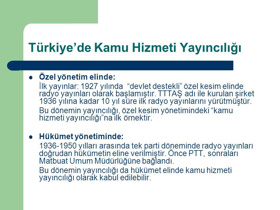"""Türkiye'de Kamu Hizmeti Yayıncılığı  Özel yönetim elinde: İlk yayınlar: 1927 yılında """"devlet destekli"""" özel kesim elinde radyo yayınları olarak başla"""