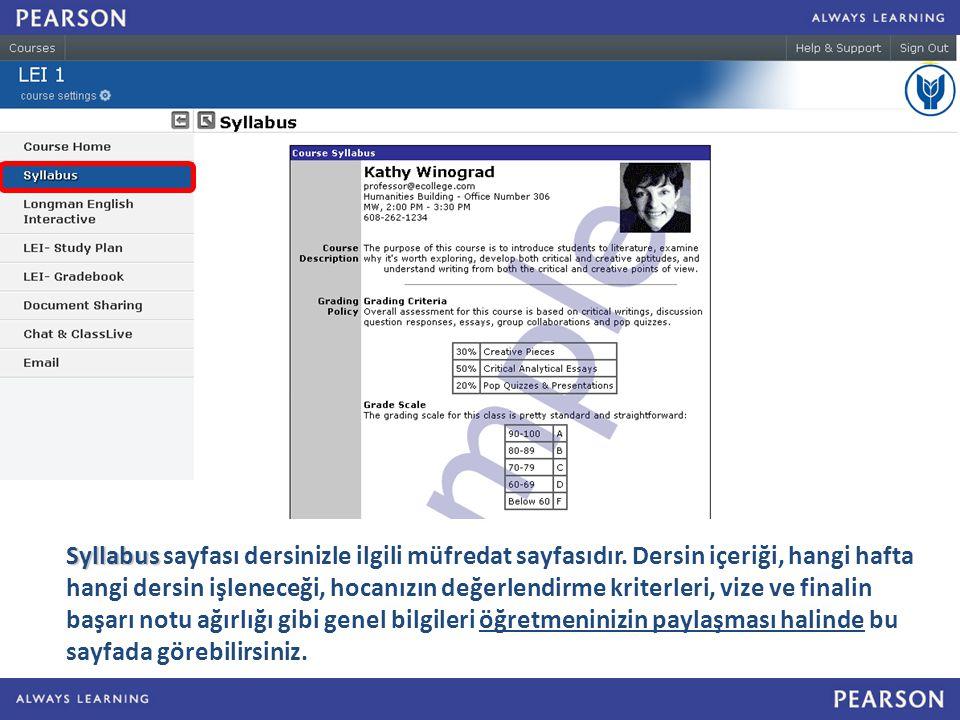 Syllabus Syllabus sayfası dersinizle ilgili müfredat sayfasıdır.