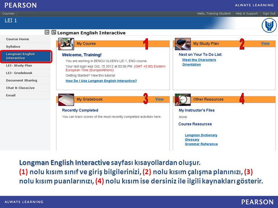 Longman English Interactive Longman English Interactive sayfası kısayollardan oluşur.