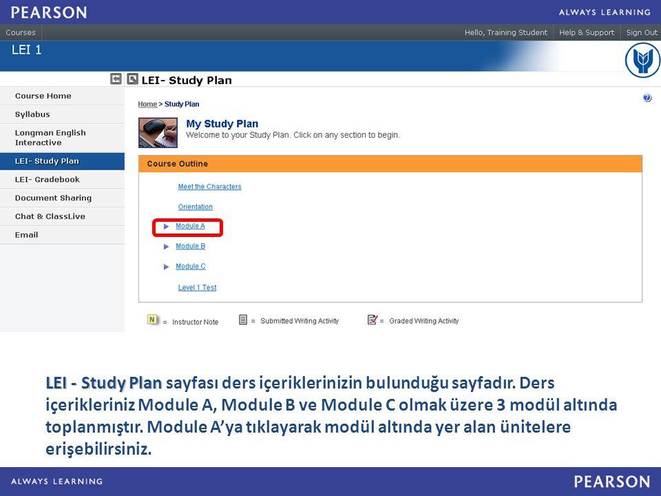 LEI - Study Plan LEI - Study Plan sayfası ders içeriklerinizin bulunduğu sayfadır.