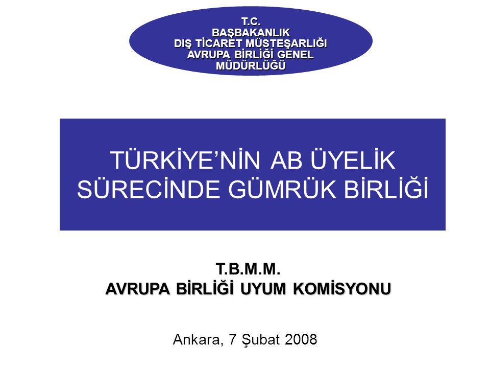 TÜRKİYE'NİN AB ÜYELİK SÜRECİNDE GÜMRÜK BİRLİĞİ Ankara, 7 Şubat 2008 T.C.BAŞBAKANLIK DIŞ TİCARET MÜSTEŞARLIĞI AVRUPA BİRLİĞİ GENEL MÜDÜRLÜĞÜ T.B.M.M.