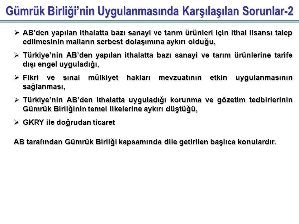 Gümrük Birliği'nin Uygulanmasında Karşılaşılan Sorunlar-2  AB'den yapılan ithalatta bazı sanayi ve tarım ürünleri için ithal lisansı talep edilmesinin malların serbest dolaşımına aykırı olduğu,  Türkiye'nin AB'den yapılan ithalatta bazı sanayi ve tarım ürünlerine tarife dışı engel uyguladığı,  Fikri ve sınai mülkiyet hakları mevzuatının etkin uygulanmasının sağlanması,  Türkiye'nin AB'den ithalatta uyguladığı korunma ve gözetim tedbirlerinin Gümrük Birliğinin temel ilkelerine aykırı düştüğü,  GKRY ile doğrudan ticaret AB tarafından Gümrük Birliği kapsamında dile getirilen başlıca konulardır.