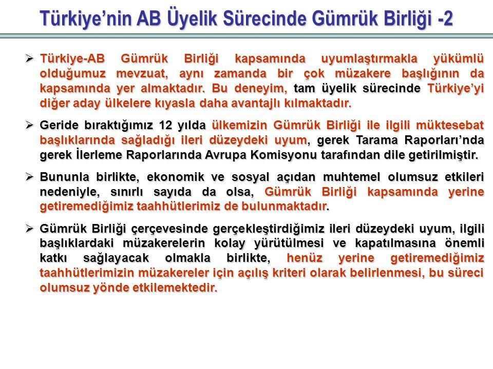 Türkiye'nin AB Üyelik Sürecinde Gümrük Birliği -2  Türkiye-AB Gümrük Birliği kapsamında uyumlaştırmakla yükümlü olduğumuz mevzuat, aynı zamanda bir çok müzakere başlığının da kapsamında yer almaktadır.