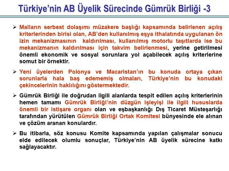 Türkiye'nin AB Üyelik Sürecinde Gümrük Birliği -3  Malların serbest dolaşımı müzakere başlığı kapsamında belirlenen açılış kriterlerinden birisi olan, AB'den kullanılmış eşya ithalatında uygulanan ön izin mekanizmasının kaldırılması, kullanılmış motorlu taşıtlarda ise bu mekanizmanın kaldırılması için takvim belirlenmesi, yerine getirilmesi önemli ekonomik ve sosyal sorunlara yol açabilecek açılış kriterlerine somut bir örnektir.
