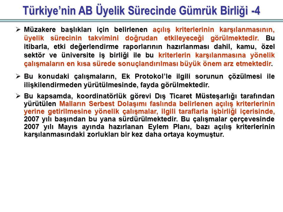 Türkiye'nin AB Üyelik Sürecinde Gümrük Birliği -4  Müzakere başlıkları için belirlenen açılış kriterlerinin karşılanmasının, üyelik sürecinin takvimini doğrudan etkileyeceği görülmektedir.