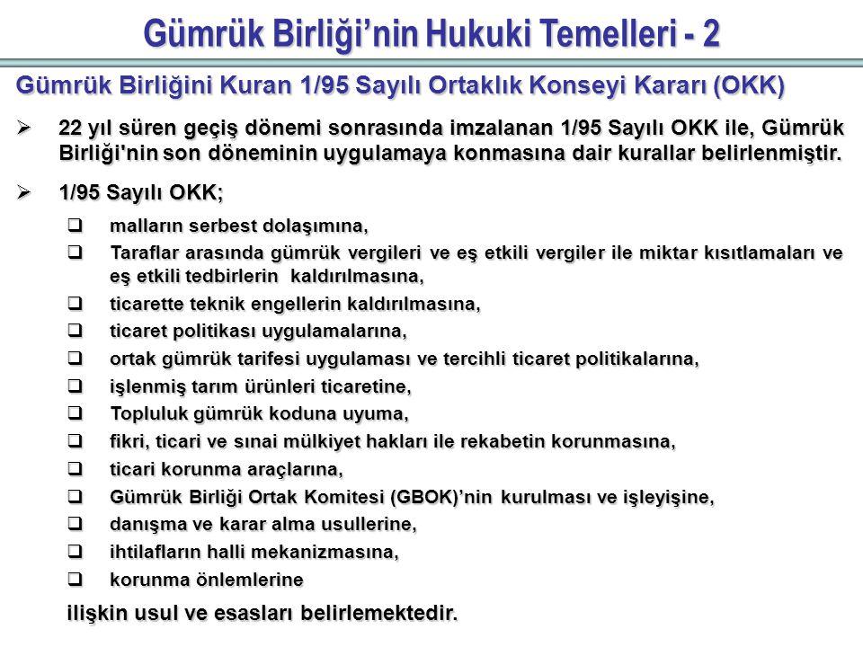 Gümrük Birliği'nin Uygulanmasında Karşılaşılan Sorunlar-1  Mevzuat hazırlık aşamasında Türkiye'nin görüşüne çoğu zaman başvurulmaması, görüş belirttiğimiz mevzuatlar itibarıyla Türkiye'nin görüş ve endişelerinin yeterince dikkate alınmaması,  Türk uzmanların, sınırlı sayıda Teknik Komite toplantılarına katılım sağlayabilmesi,  Teknik mevzuat uyumu ve uygulamalarında AB'den yeterli teknik ve mali destek sağlanamaması,  STA'ların üstlenilmesinde karşılaşılan sorunların çözümüne yönelik mekanizmaların oluşturulması konusunda, Avrupa Komisyonu'nun gerekli çabayı göstermemesi,  Malların serbest dolaşımı ilkesine aykırı olarak, karayolu taşımacılığında kota uygulanması ve Türk işadamlarına yönelik katı vize uygulamaları,  Bazı sanayi ve tarım ürünlerinde Türkiye'den yapılan ithalatta tarife dışı engellere başvurulması, Türkiye'nin karşılaşmakta olduğu başlıca sorunlardır.