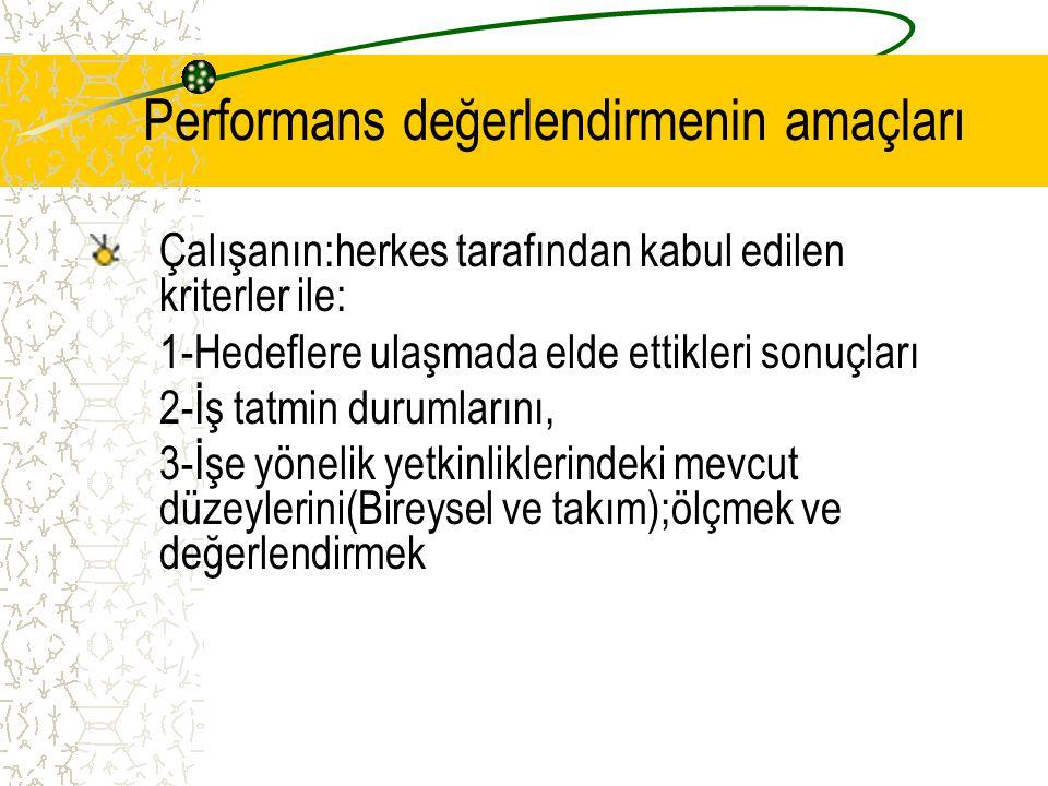 Performans değerlendirmenin amaçları Çalışanın:herkes tarafından kabul edilen kriterler ile: 1-Hedeflere ulaşmada elde ettikleri sonuçları 2-İş tatmin durumlarını, 3-İşe yönelik yetkinliklerindeki mevcut düzeylerini(Bireysel ve takım);ölçmek ve değerlendirmek