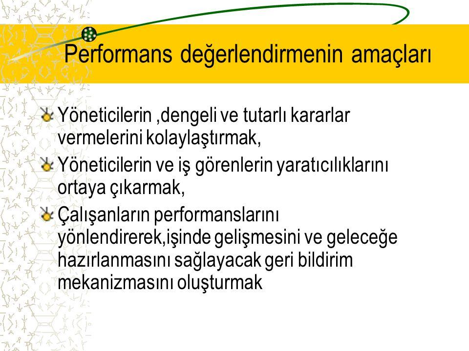 Performans değerlendirmenin amaçları Yöneticilerin,dengeli ve tutarlı kararlar vermelerini kolaylaştırmak, Yöneticilerin ve iş görenlerin yaratıcılıkl