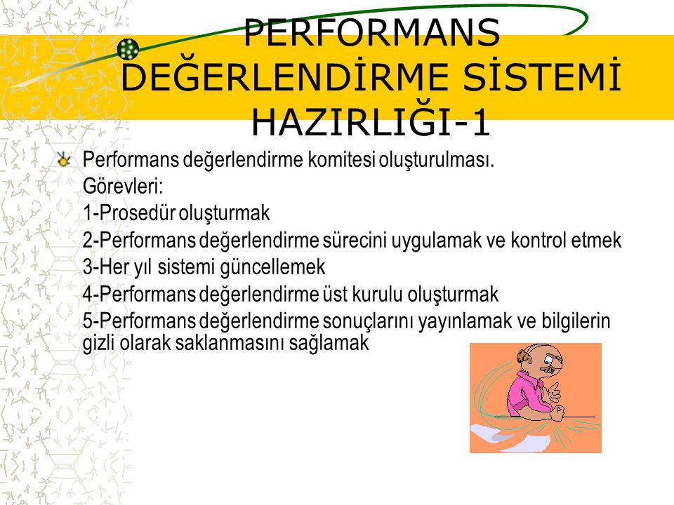 PERFORMANS DEĞERLENDİRME SİSTEMİ HAZIRLIĞI-1 Performans değerlendirme komitesi oluşturulması. Görevleri: 1-Prosedür oluşturmak 2-Performans değerlendi