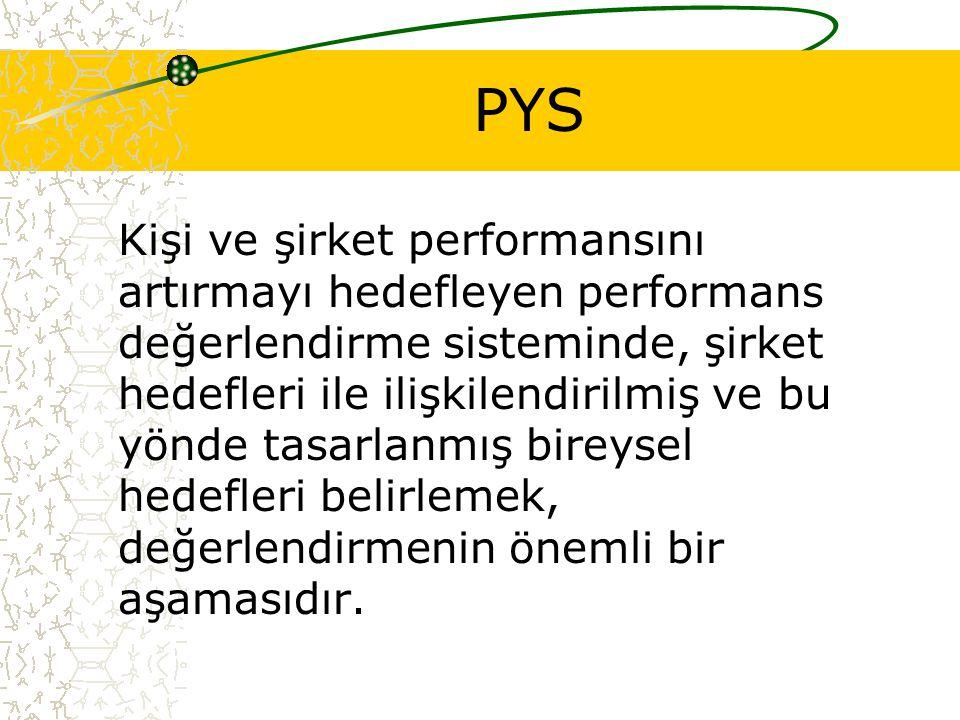 PYS Kişi ve şirket performansını artırmayı hedefleyen performans değerlendirme sisteminde, şirket hedefleri ile ilişkilendirilmiş ve bu yönde tasarlanmış bireysel hedefleri belirlemek, değerlendirmenin önemli bir aşamasıdır.
