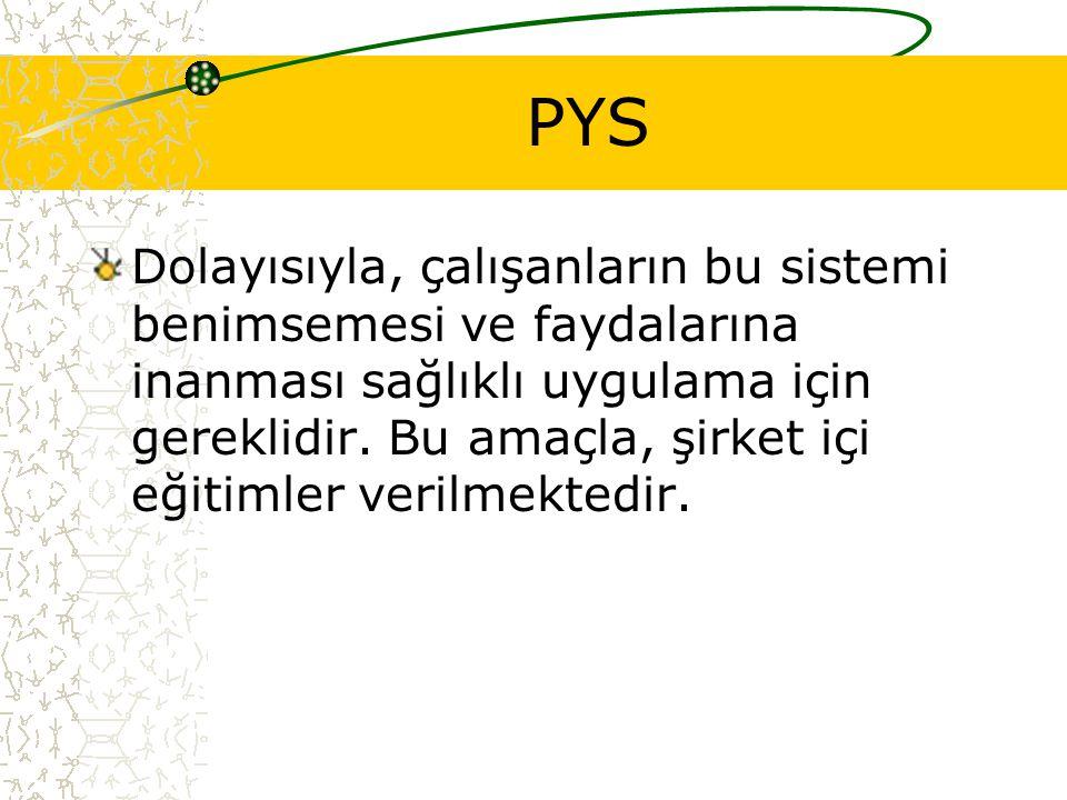PYS Dolayısıyla, çalışanların bu sistemi benimsemesi ve faydalarına inanması sağlıklı uygulama için gereklidir.