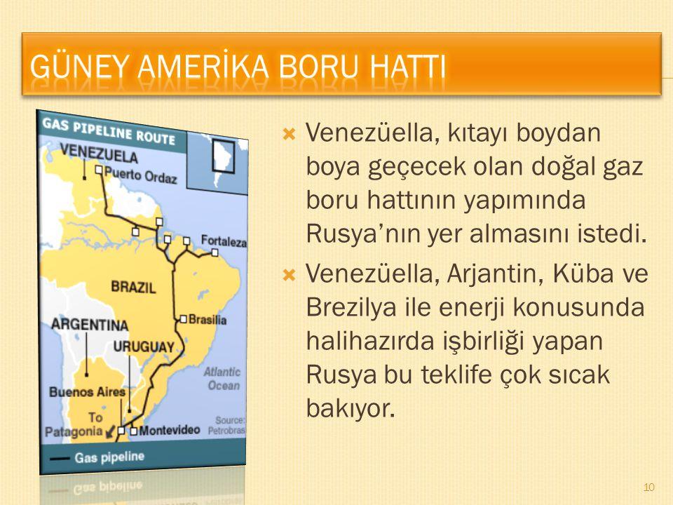  Venezüella, kıtayı boydan boya geçecek olan doğal gaz boru hattının yapımında Rusya'nın yer almasını istedi.  Venezüella, Arjantin, Küba ve Brezily
