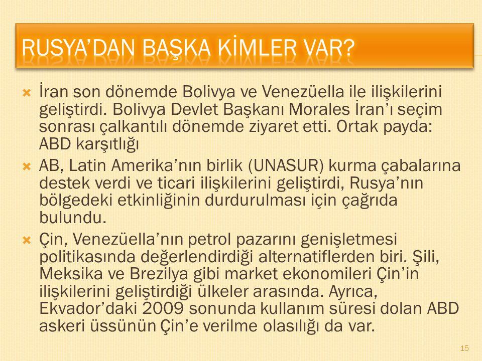  İran son dönemde Bolivya ve Venezüella ile ilişkilerini geliştirdi. Bolivya Devlet Başkanı Morales İran'ı seçim sonrası çalkantılı dönemde ziyaret e