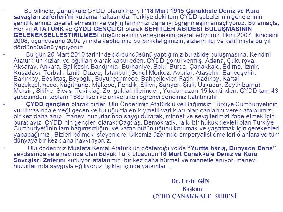 • Bu bilinçle, Çanakkale ÇYDD olarak her yıl 18 Mart 1915 Çanakkale Deniz ve Kara savaşları zaferleri'ni kutlama haftasında; Türkiye'deki tüm ÇYDD şubelerinin gençlerinin şehitliklerimizi ziyaret etmesini ve yakın tarihimizi daha iyi öğrenmesini amaçlıyoruz.