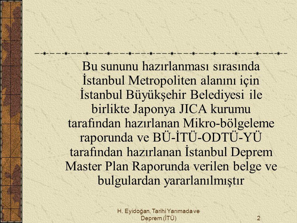 H. Eyidoğan, Tarihi Yarımada ve Deprem (İTÜ)2 Bu sununu hazırlanması sırasında İstanbul Metropoliten alanını için İstanbul Büyükşehir Belediyesi ile b