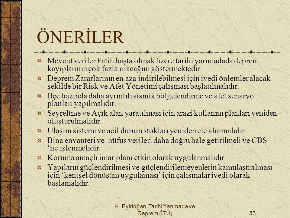 H. Eyidoğan, Tarihi Yarımada ve Deprem (İTÜ)33 ÖNERİLER Mevcut veriler Fatih başta olmak üzere tarihi yarımadada deprem kayıplarının çok fazla olacağı