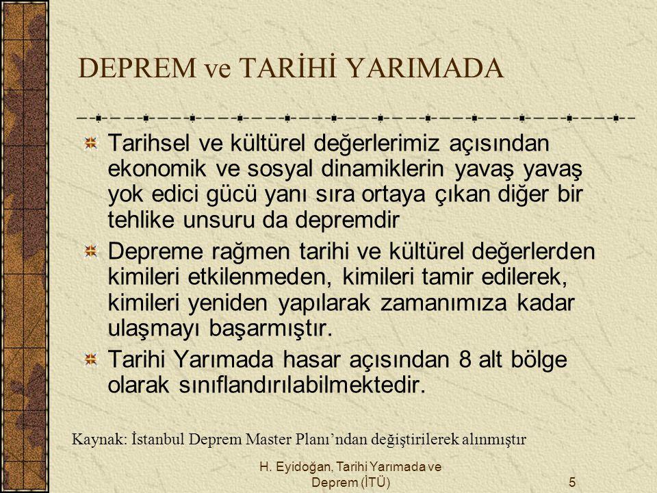 H. Eyidoğan, Tarihi Yarımada ve Deprem (İTÜ)5 DEPREM ve TARİHİ YARIMADA Tarihsel ve kültürel değerlerimiz açısından ekonomik ve sosyal dinamiklerin ya