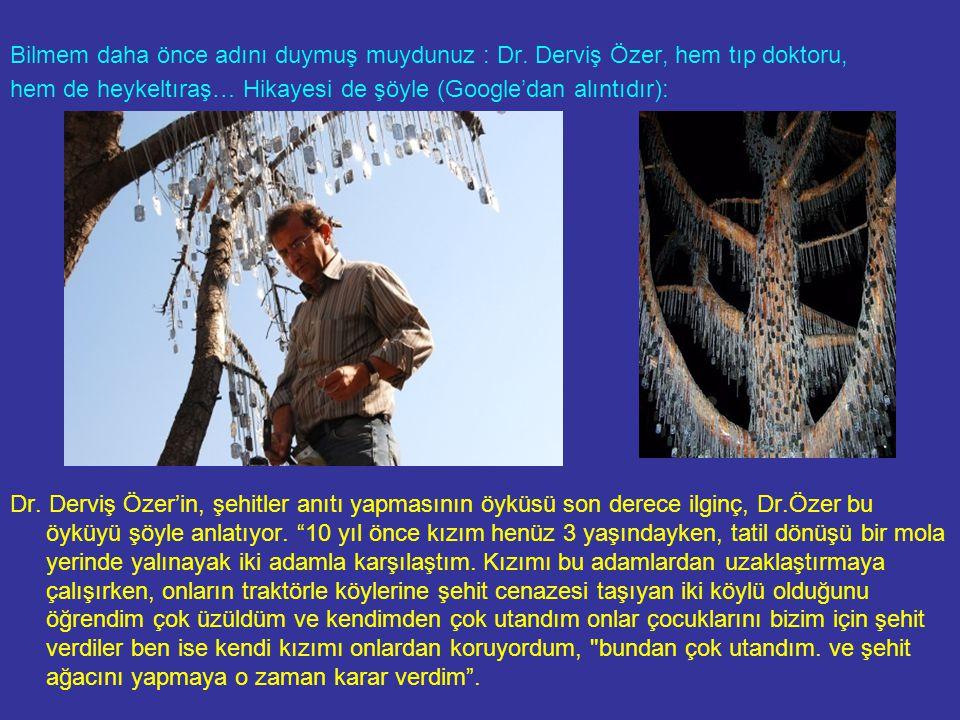 Bilmem daha önce adını duymuş muydunuz : Dr. Derviş Özer, hem tıp doktoru, hem de heykeltıraş… Hikayesi de şöyle (Google'dan alıntıdır): Dr. Derviş Öz