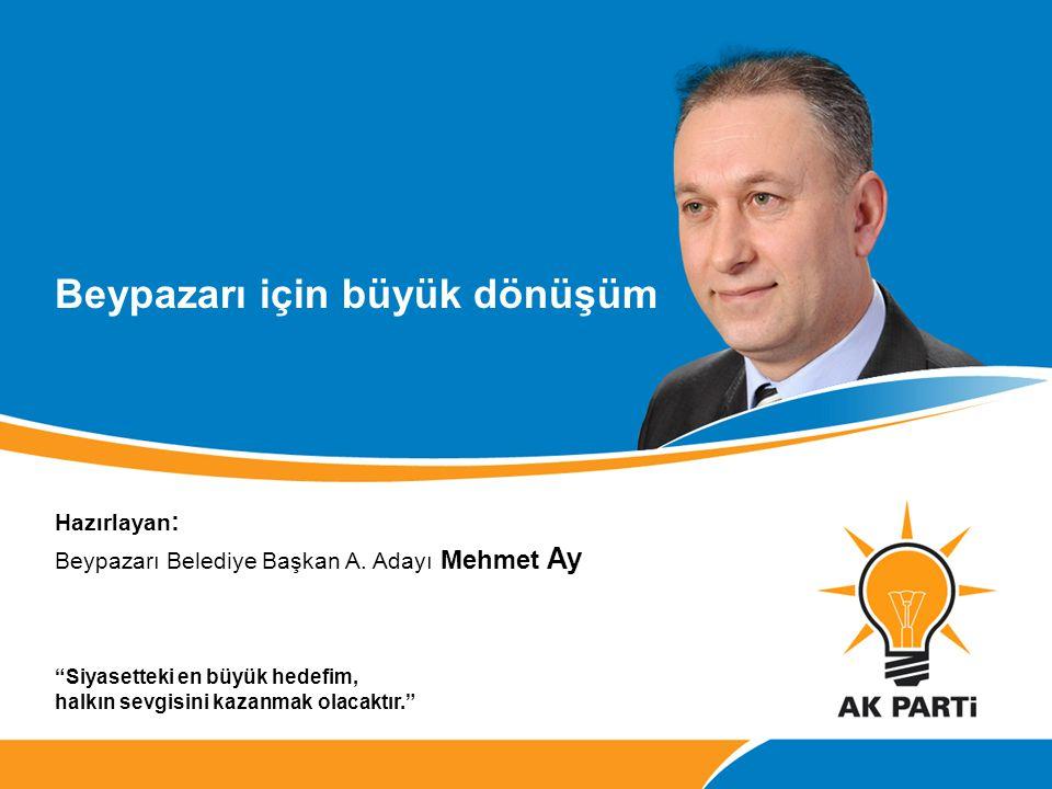 """Beypazarı için büyük dönüşüm Hazırlayan : Beypazarı Belediye Başkan A. Adayı Mehmet Ay """"Siyasetteki en büyük hedefim, halkın sevgisini kazanmak olacak"""