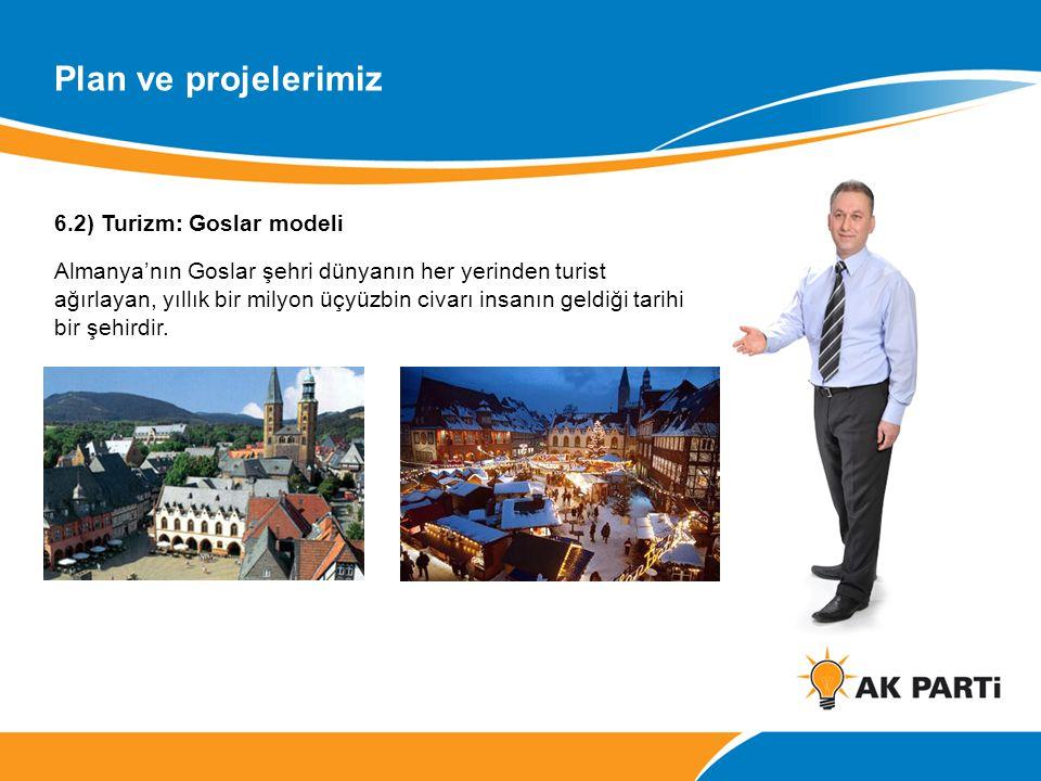6.2) Turizm: Goslar modeli Almanya'nın Goslar şehri dünyanın her yerinden turist ağırlayan, yıllık bir milyon üçyüzbin civarı insanın geldiği tarihi bir şehirdir.