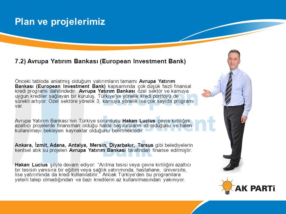 7.2) Avrupa Yatırım Bankası (European Investment Bank) Önceki tabloda anlatmış olduğum yatırımların tamamı Avrupa Yatırım Bankası (European Investment Bank) kapsamında çok düşük faizli finansal kredi programı dahilindedir.